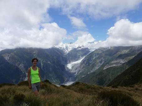 Auf Mount Fox, Blick auf den Fox Gletscher