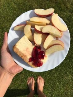 Apfel und Cheesecake